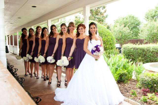 Bride and Bridesmaids on Northeast Wedding Chapel Patio